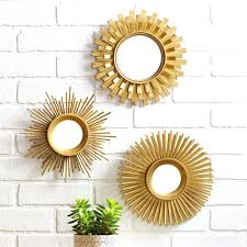 wall decor with mirror new sunburst gold set of 3 unique starburst with round mirrors wall wall decor with mirror