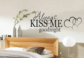 >always kiss me goodnight wall art sticker quote bedroom wall  always kiss me goodnight wall art sticker quote bedroom wall stickers 002
