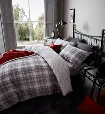 catherine lansfield tartan grey king bed brushed cotton duvet cover littens