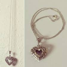 details about puffy heart open filagree sterling silver vintage pendant necklace chain 18 l