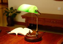 bankers desk lamp vintage table lighting fixture green glass cover shade birch wood base antique adjule articulatingl cord in desk lamps from lights