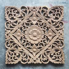 lotus carved wood wall art panel from bali
