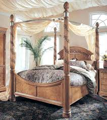 White Wood Twin Canopy Bed Wood Canopy Bed Frame Fancy Design Full ...