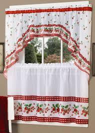 Red Kitchen Curtain Sets Strawberry Vine Tier Swag Set Red Achim Complete Kitchen Sets