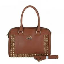 Shop Coach Legacy Legacy Haley In Stud Medium Brown Satchels BPB