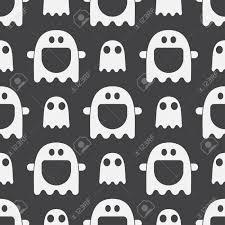 怖い面白い幽霊精神のシームレスなパターン背景黒と白ハロウィーンの休日壁紙シンプルなかわいい子と赤