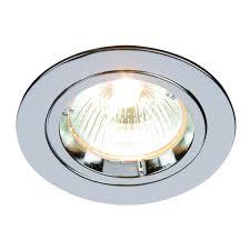 chrome effect plate 50w gu10 1 light recessed ceiling downlight