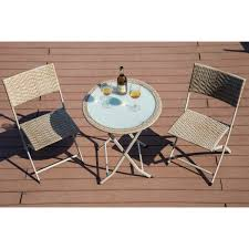 kona 3 piece folding bistro set wicker table with steel frame lightweight patio chair and table