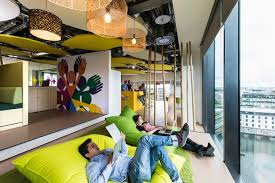 photos of google office. Featured, Cozy Sofa And Cool Lamps In Google Office, Dublin: Attractive Interior Design Photos Of Office O