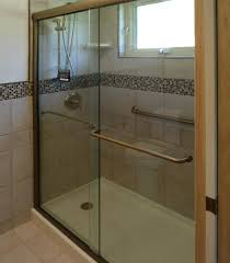 celesta semi frameless sliding shower door fits 44 48 inch opening clear glass brushed nickel finish at menards