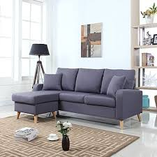 small sectional with chaise. Divano Roma Furniture Mid Century Modern Linen Fabric Small Space Sectional Sofa With Reversible Chaise (Dark Grey)