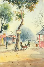 water colour on the spot at assam painting by artist biki das