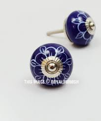 Blue Flower Hand Painted Ceramic Cabinet Knobs Set Of 2