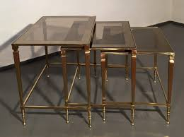 Nesting Tables Brass Mirrored Glass French Nesting Tables By Maison Jansen 62463