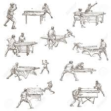 テーブル テニス手描きイラスト集です説明 フルサイズの手描きイラスト手書きのスケッチ白い背景