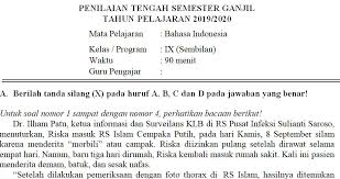 Rpp untuk kelas 1 sd / mi kurikulum 2013 edisi revisi 2018/2019. Soal Dan Kunci Jawaban Pts Bahasa Indonesia Kelas 9 Semester Ganjil Didno76 Com