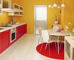 Red Yellow Kitchen and Dining Area