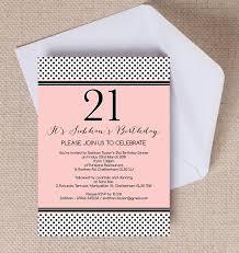 blush pink black polka trend 21st birthday party invitations