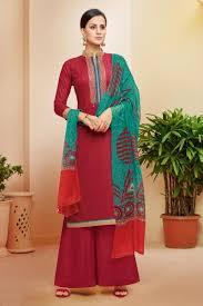 Designer Sharara Suits Red Color Printed Designer Sharara Suit In Cotton Fabric