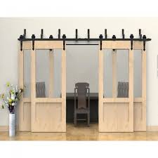 bypass barn door hardware. WinSoon Modern 4-Doors Bypass Sliding Barn Door Hardware Track Kit 5-16FT (Arrow)