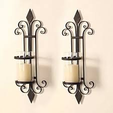 adeco trading iron wall sconce candle