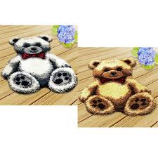 2 sets cartoon bears large latch hook rug kits for beginners hand embroidery