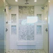 master bathroom shower tile ideas inset marble subway tile and white subway tile double shower marble