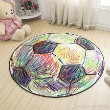 cartoon football carpet polyester fabric round carpets for children bedroom kids rugs anti slip modern rug room floor mat frieze area rugs plush carpet