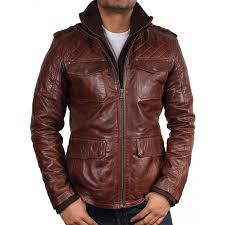 men s brown leather jacket navas loading zoom