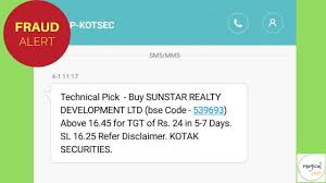 Suspicious Sms To Buy Sunstar Realty Development Ltd Bse