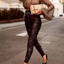 muxu black fold pu high waist trousers leisure time all match leather pants woman pantalon