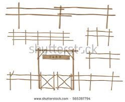 farm fence drawing. Wooden Fence Elements. Vector Illustration Farm Drawing