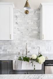 kitchen backsplash. Interesting Backsplash Gray And White Kitchen With Tiled Marble Backsplash Via Maison De Pax Throughout Kitchen Backsplash