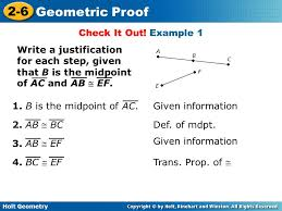 Holt Geometry 2-6 Geometric Proof Warm Up Determine whether each ...