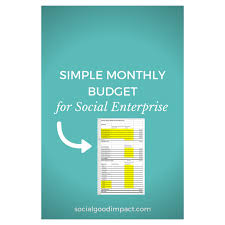 Simple Monthly Budget For Social Enterprise — Social Good Impact