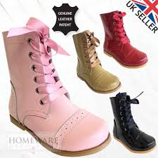 details about girls spanish style boots real patent leather sizes uk5 uk3 pink camel red black
