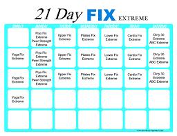 21 Day Fix Extreme Workout Calendar Print A Workout Calendar