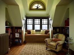 Green Wall Paint In Loft Living Room With Bay Window Seat Also Grey Rug  Also Upholstered ...