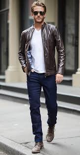 casual look suitable for work with navy jeans a white tee a brown leather