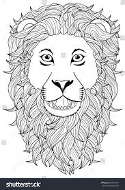 Small Picture Lion Head Coloring Page Stock Vector 500407870 Shutterstock