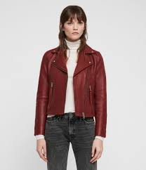 womens dalby leather biker jacket brick red image 1
