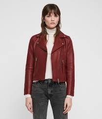 womens dalby leather biker jacket brick red image 1