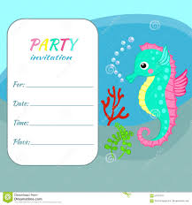 kids party invitation template templates printable bowling children birthday party invitation card template colorful seahorse on