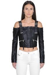 sel black gold off the shoulders cropped leather jacket black otaw0 women clothing sel injectors best value