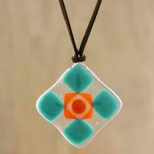 green and multi color geometric art glass pendant necklace sea green treat