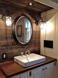 bathroom sink decor. 1. Statement Mirror And Rustic Feature Wall Bathroom Sink Decor E