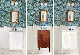 powder room furniture. emily henderson_home_waverly_powder room_vanity_faucet sink_ask the audience_option_roundup powder room furniture