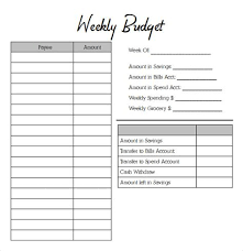 Weekly Budget Templates - Costumepartyrun