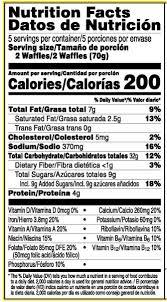 kellogg s eggo chocolatey chip waffles nutrition facts