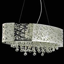 picture of 32 web modern laser cut drum shade crystal oval pendant chandelier stainless steel
